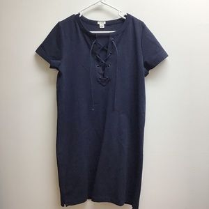J crew lace up front short sleeve navy dress